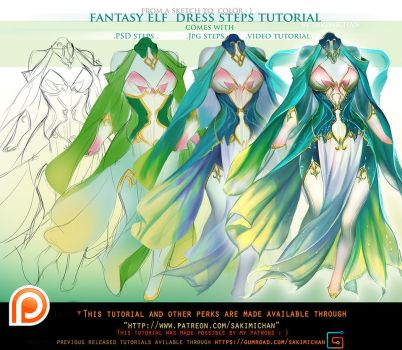 Fantasy Elf dress step videos tutorial pack.promo. by sakimichan