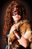 leather mask necklace and bracers by Lagueuse