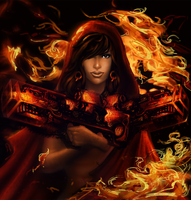 Lady Mystique On FIRE by alx234 for 1STLADYQUICK by zenx007