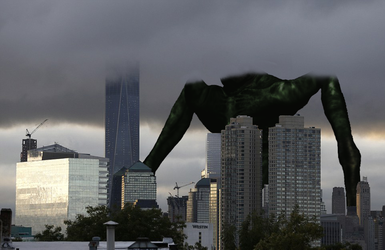 The adult Cloverfield Monster with head in clouds by Pyro-raptor