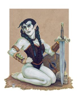 DnD Pinup: The Half-Orc by Everwho