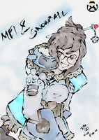 Mei-Ling Zhou and Snowball from Overwatch by markhare
