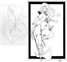 Red Sonja_before + after by MichaelBair