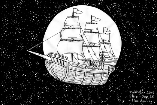 Inktober 2017 - 25 Ship by Timidouveg