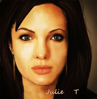 Digital Painting - Angelina Jolie by Julie-Tr