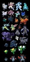 A whole bunch of pocket monsters by cat-meff