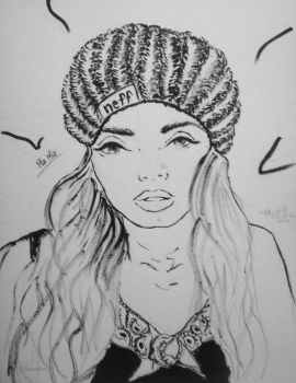 Ink Drawing - Pia Mia Perez by LizzVisions