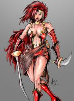 Red Monika of Battle Chasers fame by alexvontolmacsy