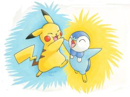 Pikachu and Piplup by Cattensu