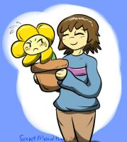 Frisk Carrying Flowey by SecretMaskedBurger