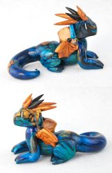 Blue and Gold Labradorite Dragon by HowManyDragons