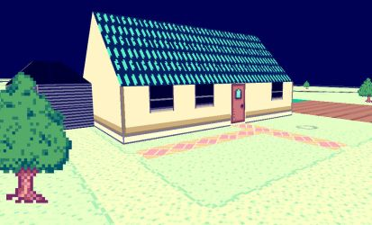 Blue Roofed Country House - Lunabilly3D/Cratoria by Kratoria