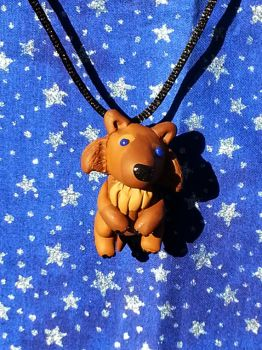 Brown Tri Colored Wolf Necklace by AuroraStars