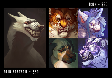 Commissions! Grin portraits and icons - CLOSED by norapotwora