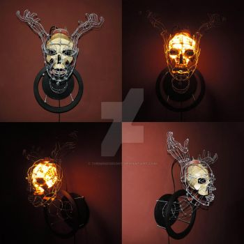 Head With Hand Antlers Lamp by themindisright