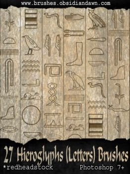 Hieroglyph Letters Brushes by Project-GimpBC