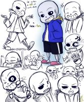 Undertale - sans sketch dump by Elanei