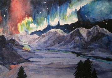 Watercolor Denali Alaskan Aurora by Mysticalpchan