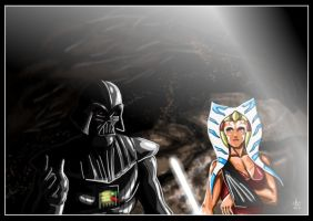 Ahsoka Tano and Darth Vader - Dark Savior II by adamantis