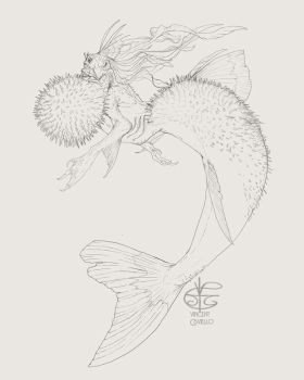 Pufferfish Mermaid by Vincent-Covielloart