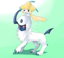 Absol and Jirachi by Final-Boss-Emiko