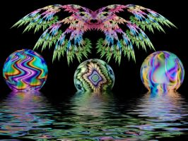 Wings, Orbs, Water by Thelma1