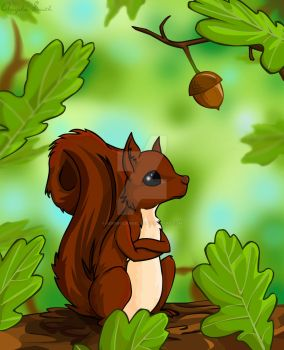 Brown Squirrel Waiting by AdmiralAngela