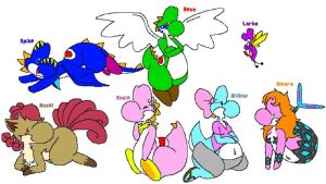 My Lil' Gang of Yoshis by Supercyborgdino