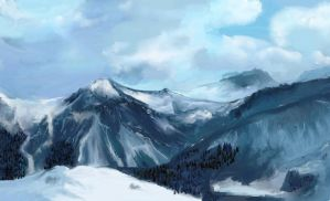 snowy mountains by Bactaboy