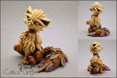 Shi the Peacock Griffin - polymer clay by CalicoGriffin