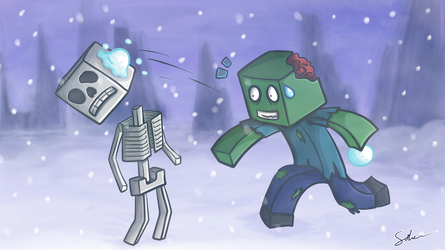 Minecraft Snowball Fight by GoldSolace