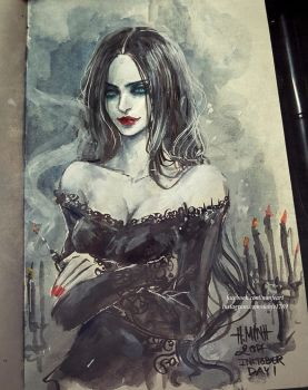 Inktober Day 1 : Morticia by NanFe