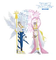 Angemon and Angewomon from a Millennium ago by Ayhelenk