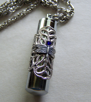 Silver Filigree Dragonfly Keepsake Capsule Pendant by mymysticgems