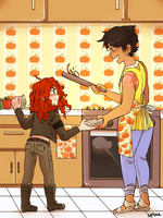 Cookin' wi' mammy . by Foxy-Knight