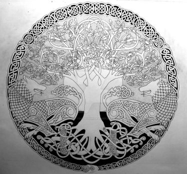 Two Wolves Sigil  (outline) by Tattoo-Design