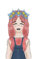 Girl with Flower Crown by lovedtrashcan