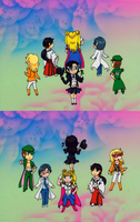 Tuxedo Rose and her handsome warriors of justice by PikeInverse