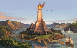 Golden Lighthouse by sensevessel