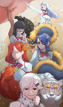 Our Four Guardians and their Leader by SKiyoshi