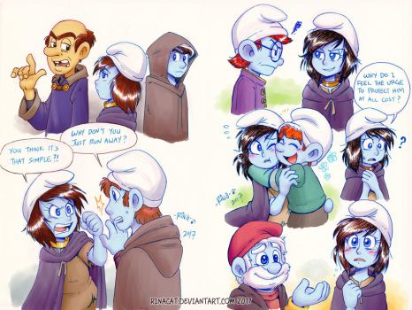 Smurfs: Tall AU Smurfette meets the Smurfs by rinacat