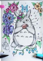 Doodle - Totoro and Flowers by quietlyfox