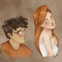Harry and Ginny by upthehillart