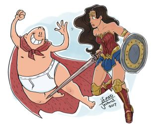 Commissions- Captain UnderPants and Wonder Women by MadJesters1