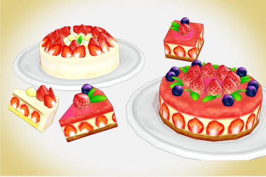Strawberry cake set MMD Download by Hack-Girl