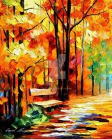 Wet Path by Leonid Afremov by Leonidafremov