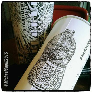 Human Anatomy on a Paper Cup by satanaku