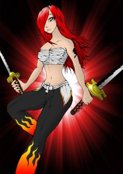 Erza lineart Colo by Tenshi--Itachi