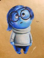 inside out sadness fan art with colorpencil by KR-Dipark