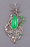 Nautical sterling silver pendant with chrysoprase by nataliakhon